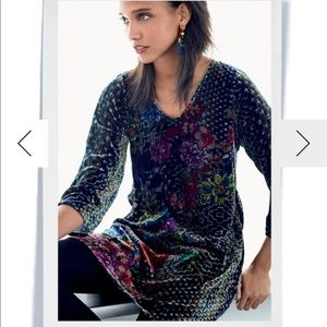 Johnny Was Tappa Floral Velvet 3/4 Sleeve Tunic
